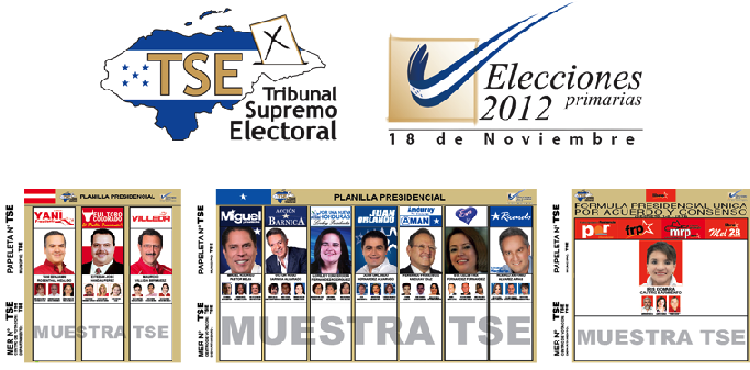 ballots for 2012 primary elections in Honduras