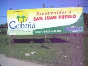 San Juan Pueblo Honduras Welcome Sign