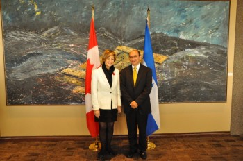 Canada Minister of State Lynne Yelich (Foreign Affairs and Consular), meets with Oscar Chinchilla Banegas, Attorney General of Honduras