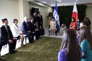 Japanese Princess Mako (L) is welcomed by Honduras' First Lady Ana Garcia de Hernandez on December 6, 2015 Photo Courtesy: Honduras Presidential Palace