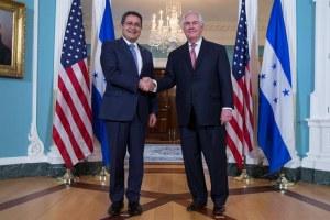 Washington D.C. - Rex Tillerson United States Secretary of State greets Honduras President Juan Orlando Hernandez to the White House.