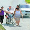 La Ceiba Patient in Stretcher on the Street