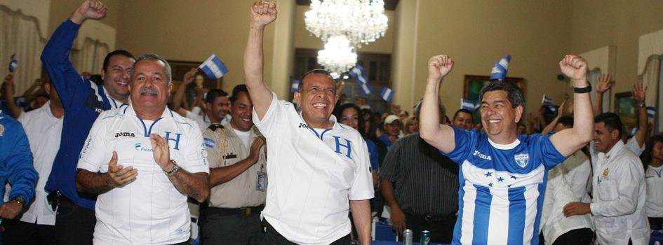 President Lobo celebrates the Honduras National Football Team's qualification for the World Cup Brazil 2014.