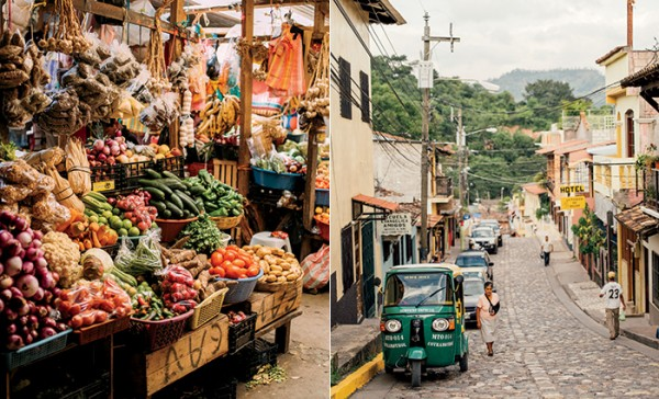 Fruit in the local market; a cobblestone street in Copán Ruinas, Honduras