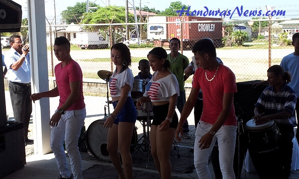 Utila Dream Ferry Inaugural Celebration in La Ceiba Honduras Band and Dancers putting on a show