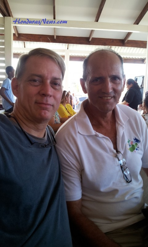 "Utila Dream Ferry Inauguration Celebration Friday October 30, 2015 La Ceiba Honduras! HondurasNews.com Correspndent Jonathan ""Roberto Catracho"" and Utila Tourism and Owner/Operator of Bucanners Restaurant in Utila, Patrick Flynn"