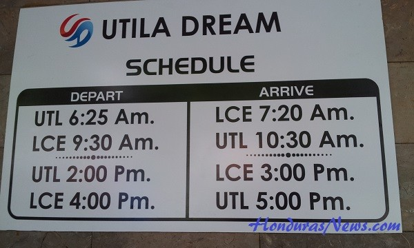Utila Dream Ferry Schedule