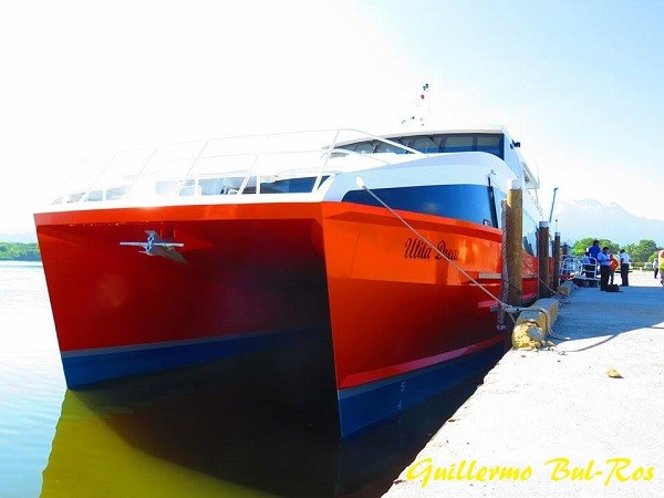 Utila Dream Ferry at La Ceiba Terminal Muelle de Cabotaje Front View of the Brand New Catamaran